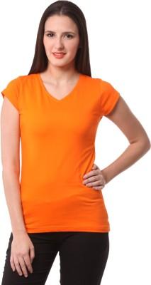 Fashionexpo Solid Women's V-neck Orange T-Shirt