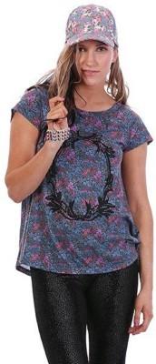 Ladakh Floral Print Women's Round Neck Blue T-Shirt