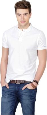 Basics Solid Men's Polo Neck White T-Shirt