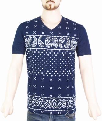 VR Designers Paisley Men,s V-neck Blue T-Shirt