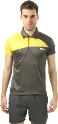 Stag Printed Men's Polo Neck Grey, Yellow T-Shirt
