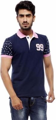 Trendy Bandey Solid Men's Peter Pan Collar Blue T-Shirt
