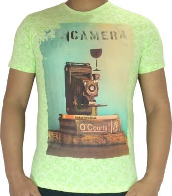 flamingo Graphic Print Men's Round Neck Light Green T-Shirt