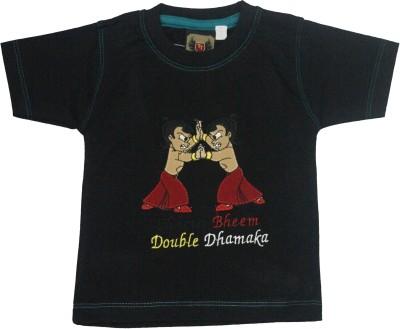 Mankoose Applique Baby Boy's Round Neck Black T-Shirt
