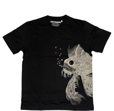 Contraband Graphic Print Men's Round Neck Black T-Shirt