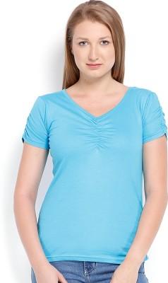 ESPRESSO Solid Women's V-neck Blue T-Shirt