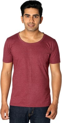 Style Connect Solid Men's Round Neck Maroon T-Shirt