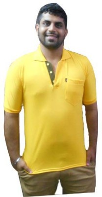 Brandrace Solid Men's Polo Neck Yellow T-Shirt