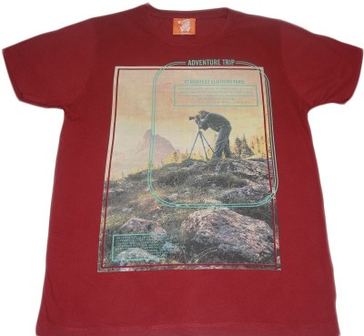 Rayon Printed Men's Round Neck Red T-Shirt