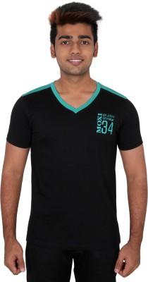 Moxi Printed Men's V-neck Black T-Shirt