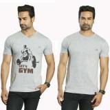 Albiten Solid Men's V-neck Grey, Grey T-...