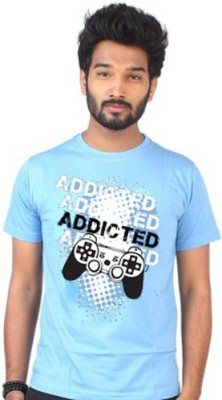 allthingscustomized Graphic Print Men's Round Neck Blue T-Shirt