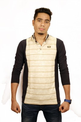 Etyhas Collections Striped Men's Polo Neck Black T-Shirt