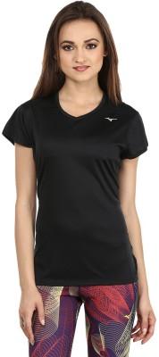 Mizuno Solid Women's V-neck Black T-Shirt