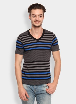 Calix Striped Men's V-neck Grey, Blue T-Shirt