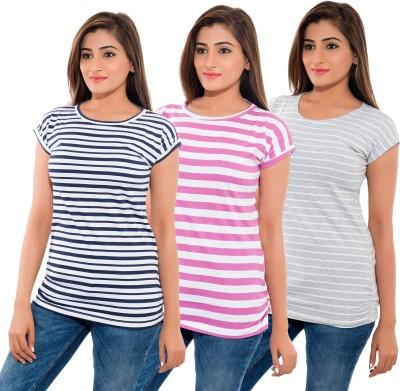 Feminine Striped Women's Round Neck Blue, Grey, Pink T-Shirt