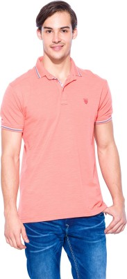 Mufti Solid Men's Polo Neck Red T-Shirt