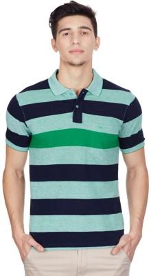 Cloak & Decker Striped Men's Polo Neck Green T-Shirt