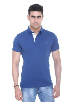 Colors and Blends Solid Men,s Polo Neck Blue T-Shirt