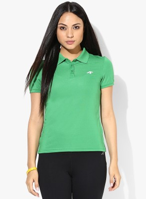Emerge Solid Women's Polo Neck Green T-Shirt