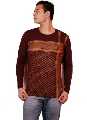 Etyhas Collections Printed Men's Round Neck Brown T-Shirt