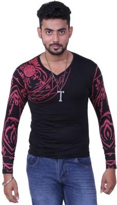 Austrich Graphic Print Men's V-neck Black T-Shirt