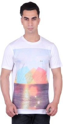 Numalo Printed Men's Round Neck White T-Shirt