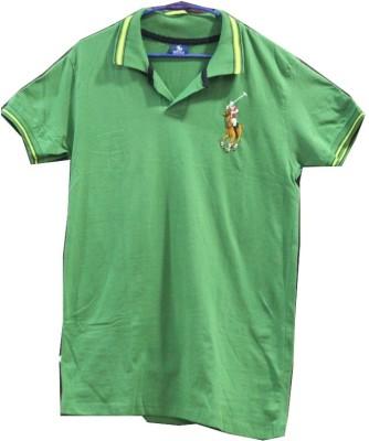 CLICKPURCH Printed Men's Polo Neck Green T-Shirt