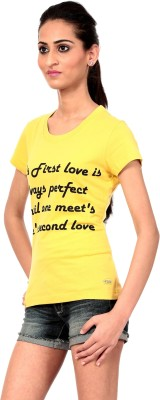 Texco Printed Women,s Round Neck Yellow T-Shirt