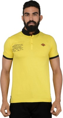 Gotit Solid Men's Flap Collar Neck Yellow T-Shirt