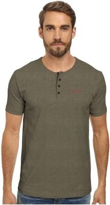 HD Hunter Douglas Solid Men's Henley Beige T-Shirt
