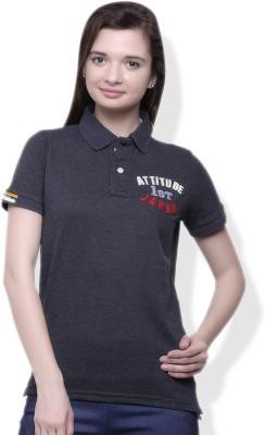 GOINDIASTORE Solid Women's Polo Grey T-Shirt