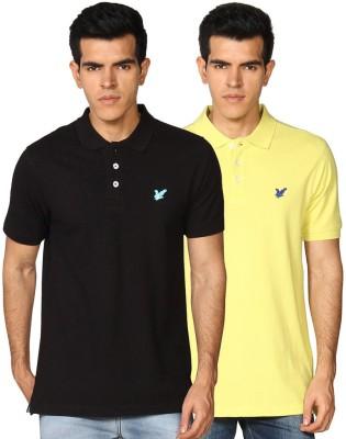 Provogue Solid Men's Polo Neck Black, Yellow T-Shirt