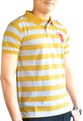 CAPRICIOUS Striped Men's Flap Collar Neck Yellow, White T-Shirt