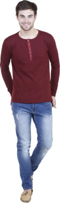 LLO Fashions Solid Men,s Henley Maroon T-Shirt