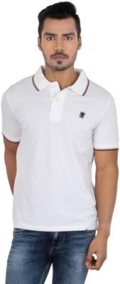 Killer Solid Men's Polo Neck White T-Shirt