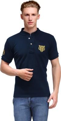 99Hunts Solid Men's Mandarin Collar Blue T-Shirt