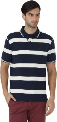 Fahrenheit Striped Men's Polo Neck Dark Blue, White T-Shirt
