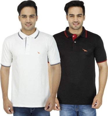 PRO Lapes Solid Men's Polo Neck Black, White T-Shirt