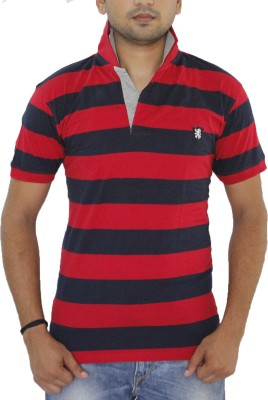 Grey Tree Striped Men,s Polo Neck Red T-Shirt