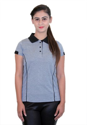WASP Embellished Women's Polo Neck Grey T-Shirt