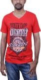 Caddo Printed Men's V-neck Red T-Shirt
