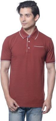 Carve Solid Men's Polo Neck Brown T-Shirt