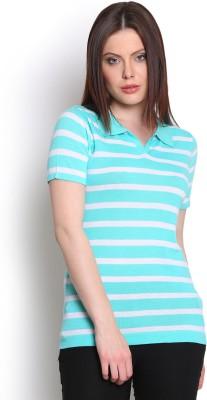 Manola Striped Women's Flap Collar Neck Light Blue T-Shirt