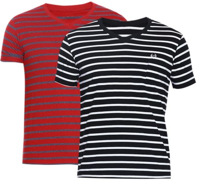 Duke Stardust Striped Men's V-neck Multicolor T-Shirt