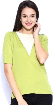 Le Bison Solid Women's Round Neck Light Green T-Shirt