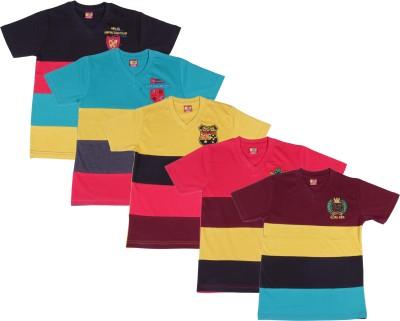Provalley Printed Boy's V-neck Multicolor T-Shirt