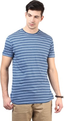 T-shirt Company Striped Men's Round Neck Blue T-Shirt