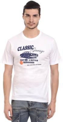 Orange Plum Printed Men's Round Neck White T-Shirt