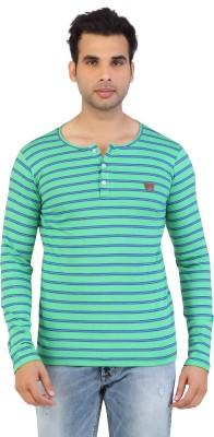 Free Spirit Striped Men's Henley Green T-Shirt